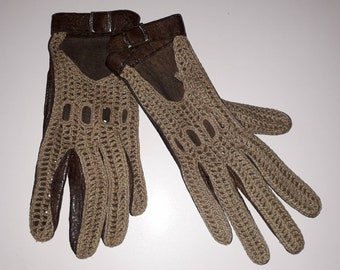 Vintage Driving Gloves Brown Leather Beige Woven Driving Gloves Buckles Snaps Boho 7