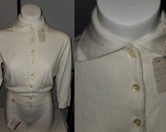 DEADSTOCK Vintage Sweater 1950s Creamy White Talbotts Taralan Full Fashioned Orlon Cardigan Sweater Unworn NWT Rockabilly Pinup 38