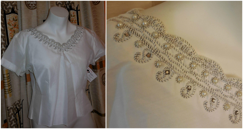 3523bba3ace043 Vintage White Cotton Lace Blouse