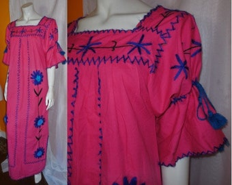 Vintage 1970s Long Dress Mexican Oaxaca Pink Cotton Blue Yarn Embroidered Maxidress Resort Cruise Vacation Wear Mod Boho L