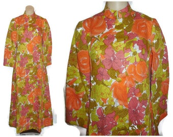 Unworn Vintage Dress Long 1960s Abstract Psychedelic Floral Print Dress Hostess Gown Orange Pink NWT Mod M
