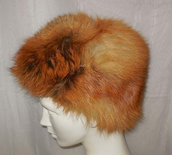 633fd100006 Vintage Fur Hat 1960s 70s Red Fox Fur Fluffy Round Pouf Hat