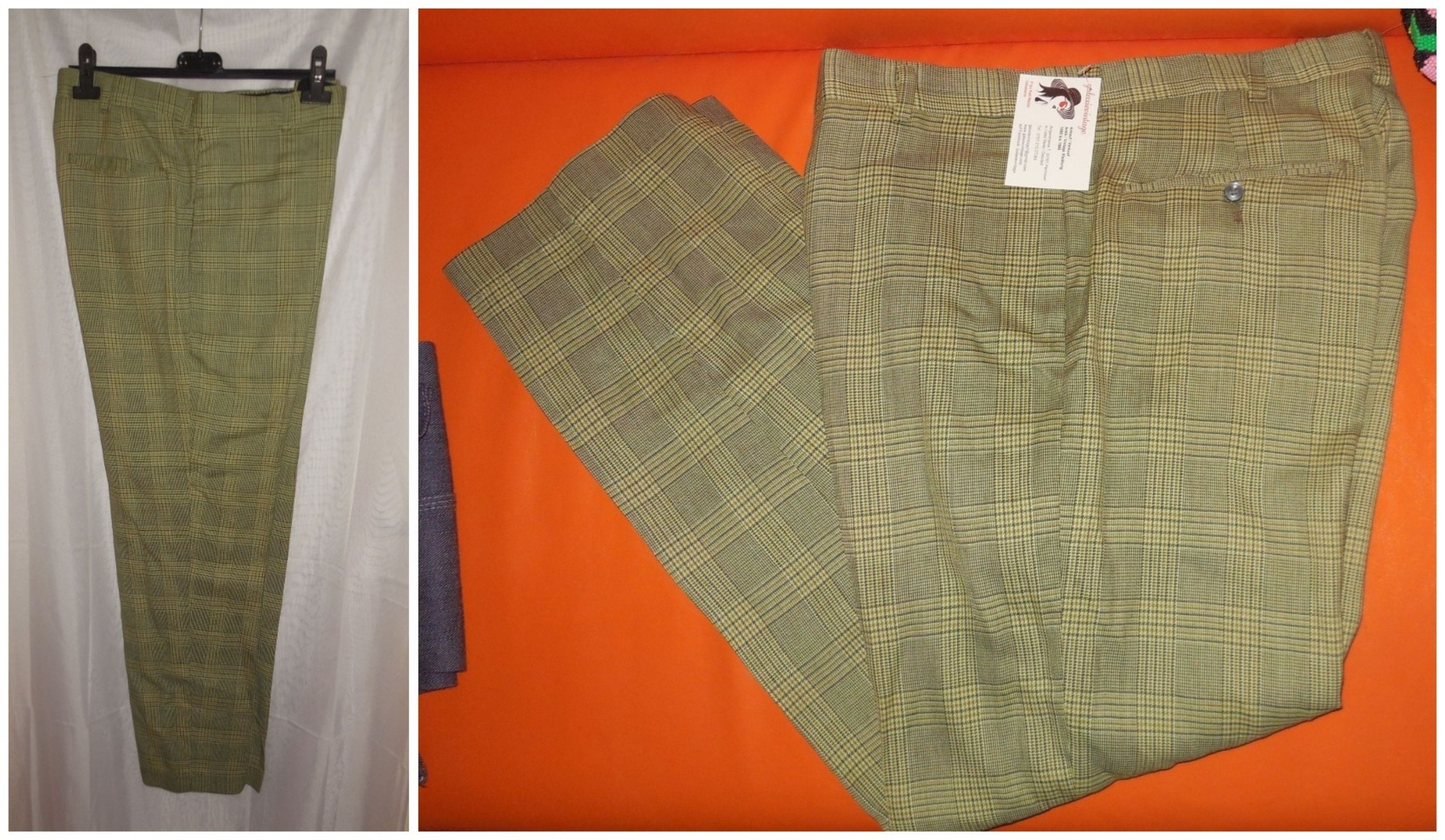 4f78553c13 Vintage Men's Pants 1950s 60s Green Plaid Sears Perma Prest Pants USA  Rockabilly Mod M waist to 33 in.