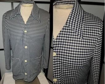 Vintage Men's Jacket 1970s Catalina Action Jacket Leisure Jacket Navy Blue White Houndstooth Polyester LS Shirt JacMod Boho M chest 41 in.