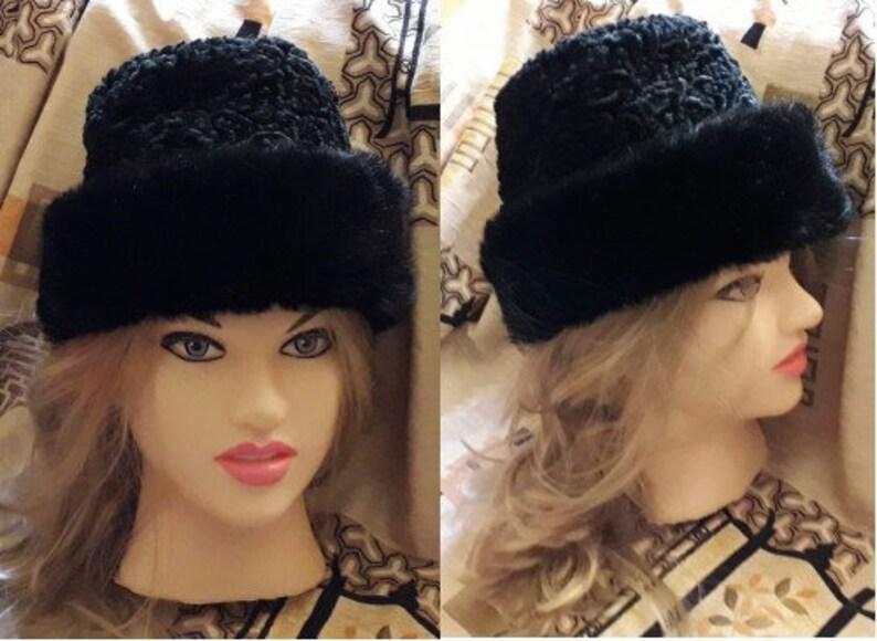 417737c40b025 Vintage Faux Fur Hat 1960s 70s Black Faux Persian Lamb Mink
