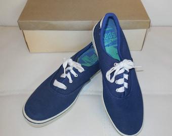 Deadstock Vintage 1960s Keds Sunfish Tennis Shoes Sneakers Navy Blue Tennis Shoes Mod Boho Unworn NIB US  sz 5 1/2 with flaws