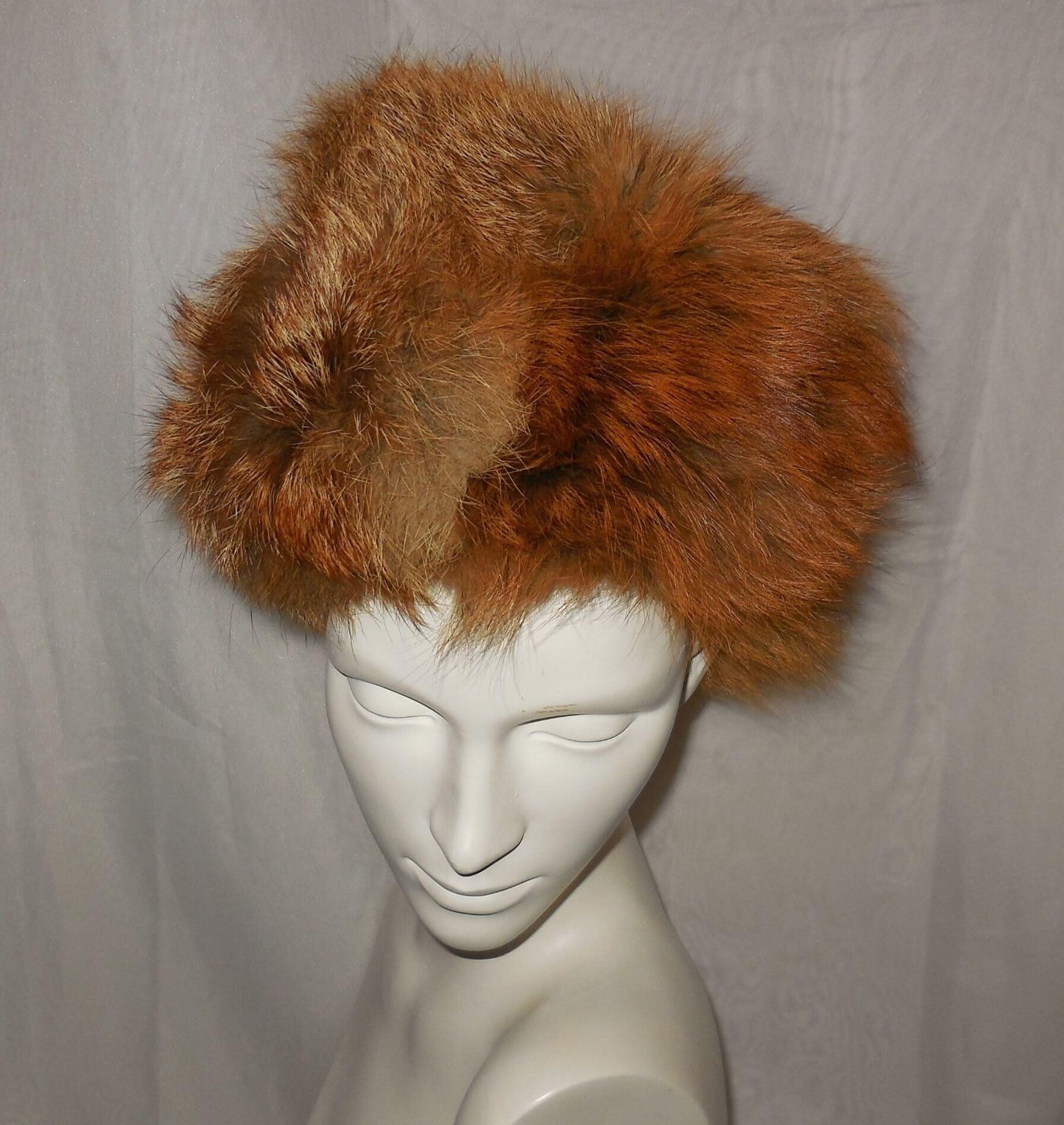 Vintage Fur Hat 1960s 70s Red Fox Fur Fluffy Round Pouf Hat Mod Apres Ski  Boho 21.5 inches 67965f37ce8