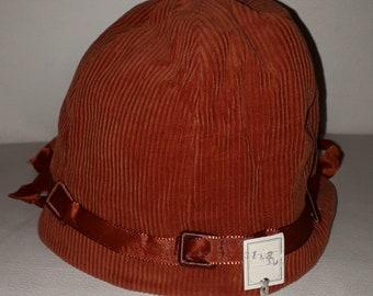 Unworn Vintage Childs Hat 1930s 40s 50s Rust Corduroy Bucket Hat Satin Ribbon NWT German Art Deco 20 in.