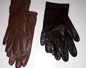 2 Pair Women's Vintage Gloves Soft Medium and Dark Brown Leather Winter Gloves Lined Bow Detail Mod Boho M L