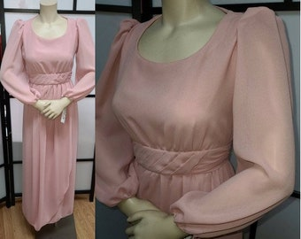 Vintage 1970s Dress Long Mauve Pink Gown Sheer Top Layer Grecian Detail Goddess Maxidress Miss Elliette Boho S chest 35 in.