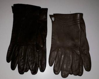 2 Pair Women's Vintage Gloves Soft Medium and Dark Brown Leather Winter Gloves Cool Details Mod Boho M L