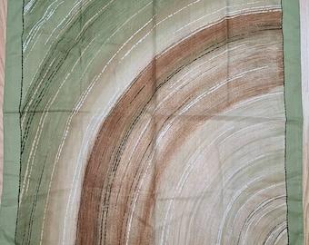 Vintage Silk Scarf 1960s Meunier Designer Scarf Abstract Green Brown Print Mod Pop 30 in. sq.