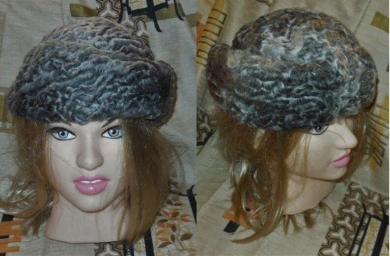 9dce71ffe9c9c Vintage Fur Hat 1950s 60s Gray Persian Lamb Fur Asymetrical