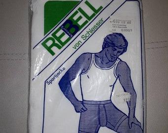 DEADSTOCK 1970s Men's Underwear Vintage Undershirt Tank Top Schiesser German White Ribbed 100% Cotton Unworn Rockabilly NIP size S