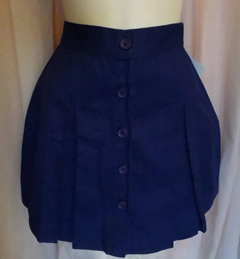 Unworn Vintage Miniskirt 1970s Short Purple Cotton Skirt Round Buttons Down Front German Mod Boho L waist to 30.5 in.