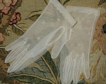 SALE Vintage 1950s Gloves Sheer Cream Net Embroidered Nylon Gloves German Rockabilly Wedding Bridal Small