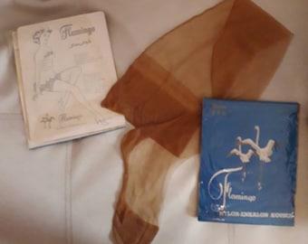 DEADSTOCK Vintage Stockings 1950s Tan Seamed Fine Mesh Cuban Heel with Welt Flamingo Brand Netherlands Dutch Rockabilly Pinup sz 9 1/2