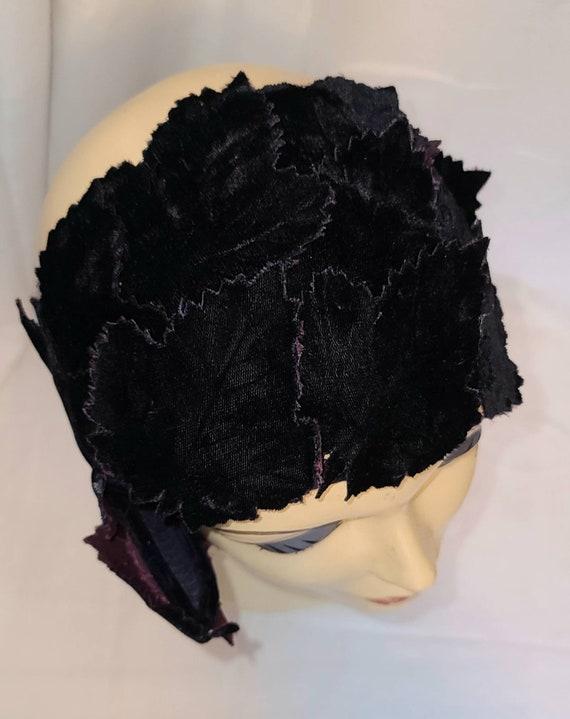 Vintage Half Hat Small 1940s 50s Dark Purple Velv… - image 8