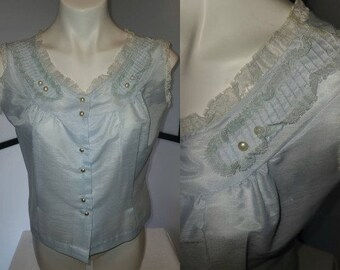 Vintage 1950s Blouse Light Blue Lightweight Summer Blouse Sleeveless Ruffle Lace Pleat Trim Rockabilly Pinup M L