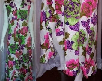 Vintage 1960s Hawaiian Dress Long Green Pink White Floral Cotton Blend Halter Ruffle Maxi Dress Hippie Boho Festival L