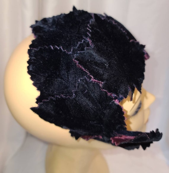 Vintage Half Hat Small 1940s 50s Dark Purple Velv… - image 5