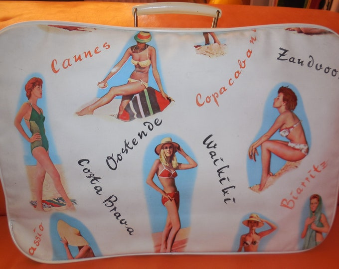 Featured listing image: Vintage 1950s 60s Suitcase Pinup Girl Pictures White Vinyl Suitcase Zipper Beach Bathing Beauties European Rockabilly Pinup 18 x 12 in.