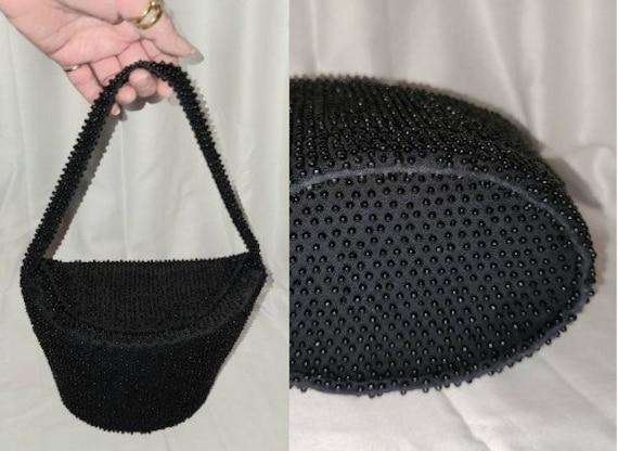 Vintage Beaded Purse 1940s 50s Black Handbag Tiny