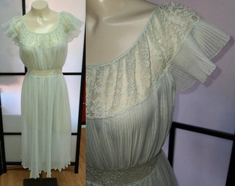 Vintage 1950s Nightgown Light Blue Barbizon Flattery Sheer Crystal Pleat Nylon Lace Nightgown Grecian Look M chest to 38 in.