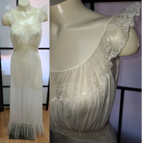 Vintage 1950s Nightgown Long Vanity Fair Semi Shee