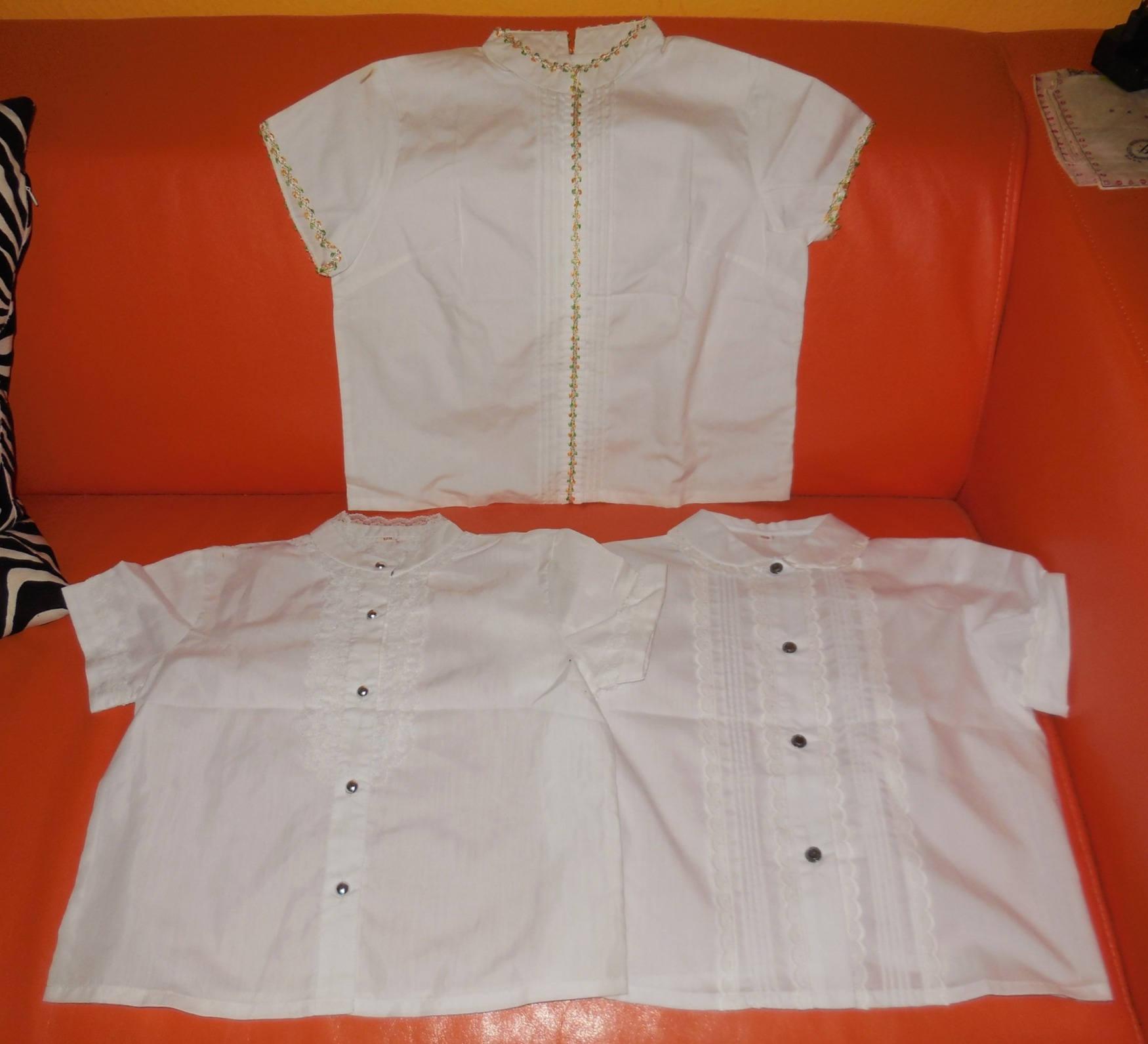 Sale Lot Of 3 Vintage Girls Blouse 1950s 60s White Blouses Cotton