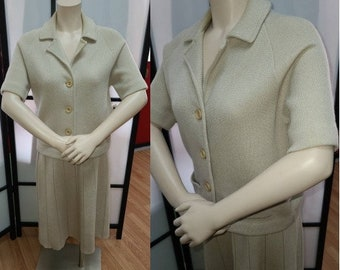 Vintage Knit Suit 1950s Beige Wool Mohair Knit Top and Skirt Glasgo Rockabilly S M chest 38 in.