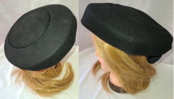 Vintage Saucer Hat 1940s 50s Small Round Black Sau