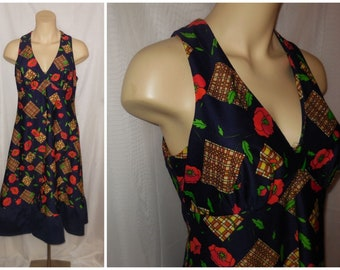 Vintage 1960s 70s Sundress Amazing Geo Floral Print Built in Bra Super Cute Summer Dress Boho M chest to 38 in