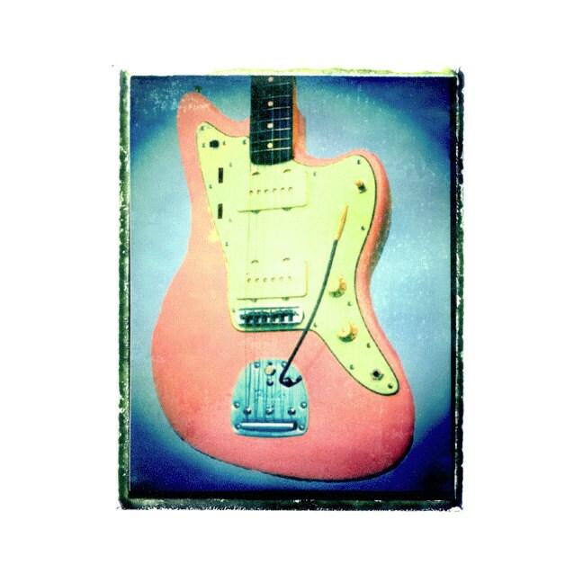 pink fender jaguar jazz master guitar art print music gift etsy. Black Bedroom Furniture Sets. Home Design Ideas