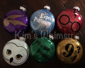 Harry Potter Glittered Ornaments - Free personalization