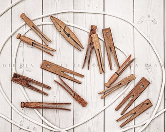 Rustic Farmhouse Laundry Room Home Decor, Fine Art Photography, Old Clothespin Collection, Vintage Clothespins, Country Decor