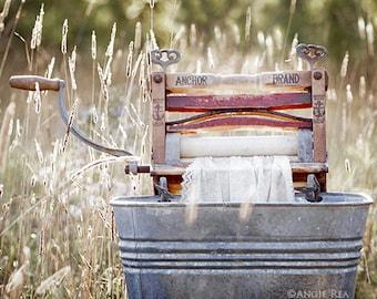 Rustic Laundry Room Decor, Antique Wringer Washer, Clothes Wringer Laundry Print, Laundry Room Art, Simple Life, Americana