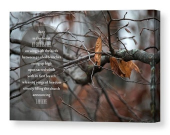 Nature Typography Canvas Gallery Wrap, Nature Poem, Home and Office Decor, Large Canvas Wall Art