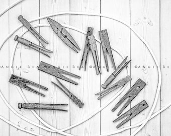 Black and White Rustic Laundry Room Home Decor, Still Life, Old Clothespin Collection, Vintage Clothespins, Country Decor
