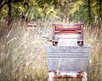 Laundry Room Decor, Antique Wringer Washer, Clothes Wringer Laundry Print, Laundry Room Art,  Photography, Americana Decor