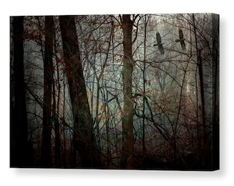 Crow Canvas Gallery Wrap, Crow Art, Enchanted Forest, Bird Decor, Large Canvas Wall Art, Crows Flying, Black Crows, Nature Photography