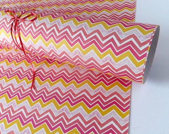 Any occasion Wrapping Paper. Three Sheets. gift wrap. Recycled gift wrap. Pink zig zag