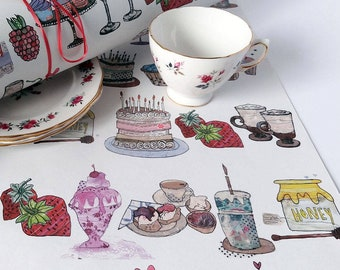 Yummy things wrap, Three Sheets, Gift wrap, Eco-Friendly, Recycled, Packaging, cakes, cupcakes, Made in the UK