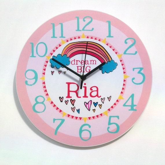 Personalised Baby girl Clock-Nursery Clock-Christening Baptism Gift-1st Birthday-Baby Room Clock