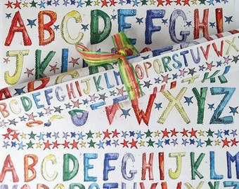 Gift Wrap, Quirky Eco Friendly Paper, A to Z design, Recycled Wrapping Paper, 3 sheets, typography, Made in UK