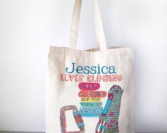 Rock Climbing bag, Gift For Adventurers, Outdoors Gift, Personalized Travel Bag, Gift for a Rock Climber, Personalised Adventure bag