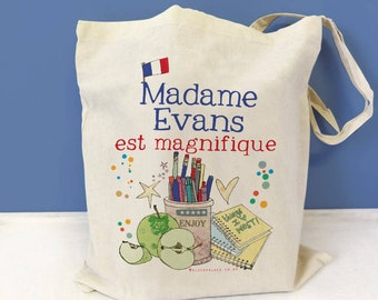 Personalised French Teacher Bag, Teacher Gift, Personalised Tote, Childminder, Thank you teacher gift, French, End of term thank you