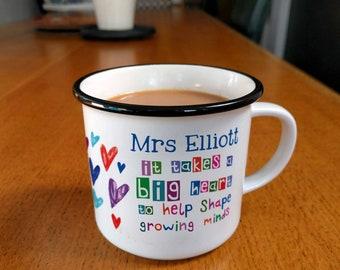 Thank You Teacher Mug, Personalised Mug, Heart mug, Hearts, coffee mug, mugs, ceramic mugs, teacher gift