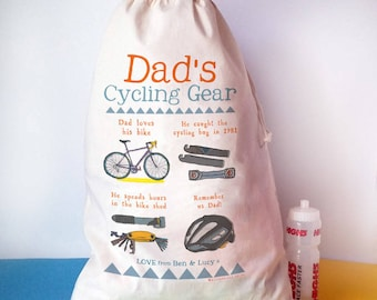 Personalised cycling storage sack, Mountain Bike Gift, Cycling kit, bike, gift for him, Fathers day, Daddy, Cycling gifts, bicycle gift