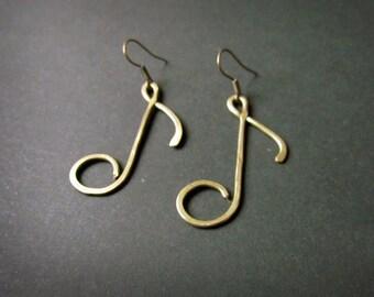 Note Earrings, Wire Wrapped Brass